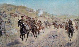 """ציור של הסתערות פרשי דיוויזיית ה""""יומנרי"""" הבריטיות על גבעות מעא'ר (נס ציונה) 13-נוב-1917"""